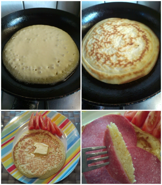 Fluffy pancakes with butter, cheese and salami